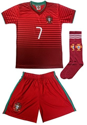 2015 Portugal Cristiano Ronaldo #7 Home Football Soccer Kids Jersey Short Socks Set Youth Sizes (10-11 Years)