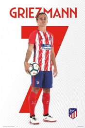 1art1® Poster + Suspension : Football Poster (91x61 Cm) Atletico Madrid, Antoine Griezmann Et Kit De Fixation Noir