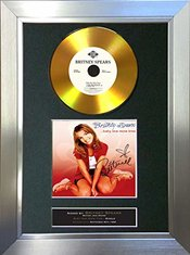 #139 Gold Disques Britney Spears Baby One More Time Autographe Monté Sur Carte Cd A4 Rare Perfect Birthday (297 X 210 Mm), Cadre Argent, 12 X 8 Inches